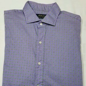 POLO RALPH LAUREN Purple Paisley Long Sleeve Shirt